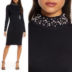 Eliza J Pearl mock neck sweater dress black NWT
